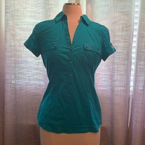 Dynamite turquoise stud button blouse